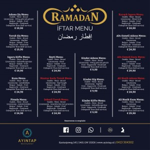 Ramadan Menu 2019 Nieuw